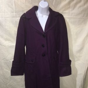 Guess Womens 1X Military Style Purple Pea Coat